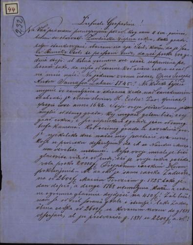 44 | Pismo Đure Benka Ivanu Kukuljeviću