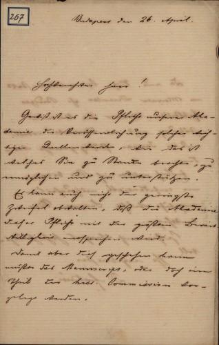 267 | Pismo dr. Vilmoša Fraknoi Ivanu Kukuljeviću