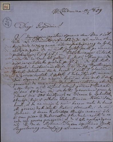 46 | Pismo Ivana Berčića Ivanu Kukuljeviću