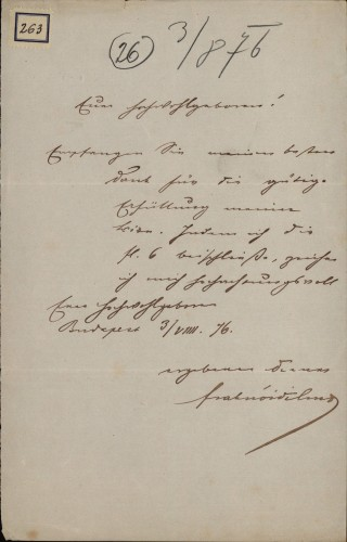 263 | Pismo dr. Vilmoša Fraknoi Ivanu Kukuljeviću