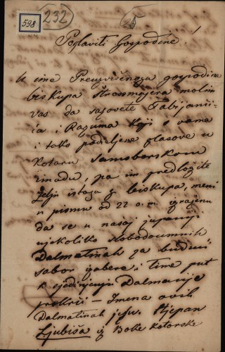 598 | Pismo Ivana Kukuljevića Stjepanu Denšiću