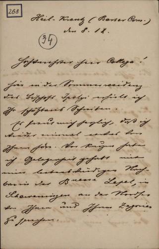 268 | Pismo dr. Vilmoša Fraknoi Ivanu Kukuljeviću