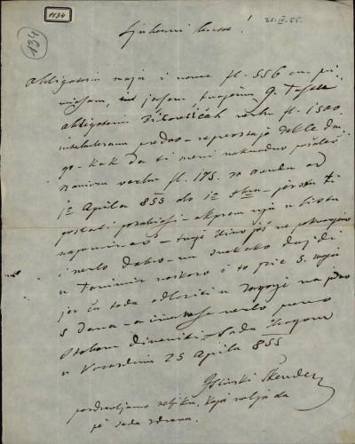 1134   Pismo Škendera Šimunčića Ivanu Kukuljeviću