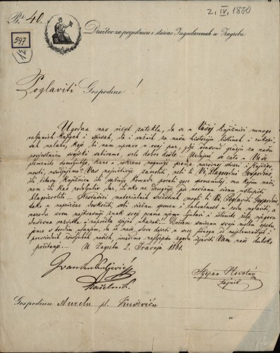 597 | Pismo Ivana Kukuljevića, ispred Društva za povjesnicu i starine Jugoslavije u Zagrebu, Aurelu pl. Kuševiću