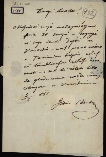1135   Pismo Škendera Šimunčića Ivanu Kukuljeviću