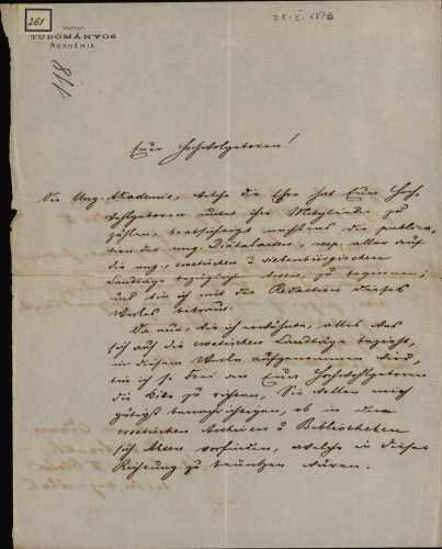261 | Pismo dr. Vilmoša Fraknoi Ivanu Kukuljeviću