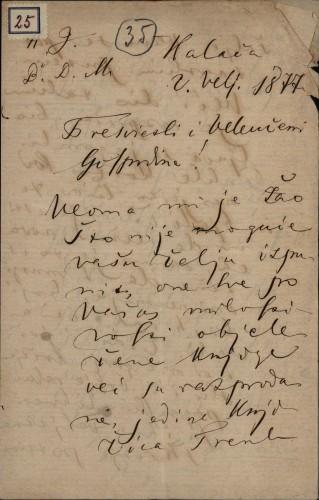 25 | Pismo Ivana Antunovića Ivanu Kukuljeviću