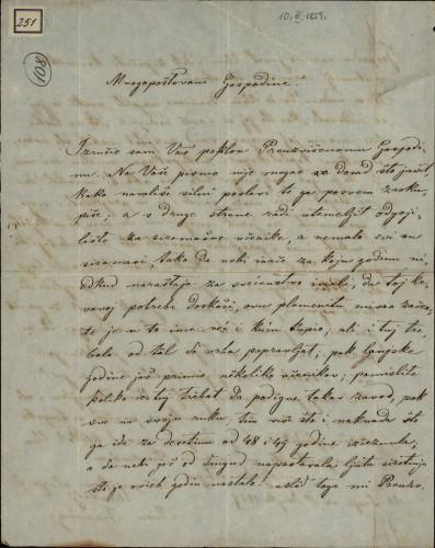 251 | Pismo Ivana Fiamina Ivanu Kukuljeviću