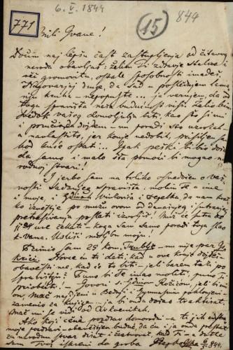 771 | Pismo Stjepana Mlinarića Ivanu Kukuljeviću