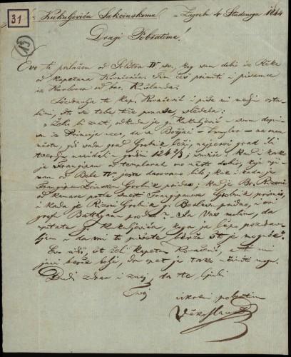31 | Pismo Vjekoslava Babukića Ivanu Kukuljeviću