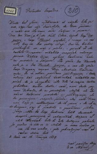 1066   Pismo Ivana Matije Škarića Ivanu Kukuljeviću