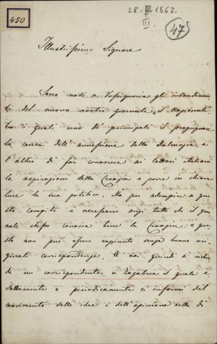 450 | Pismo Michela Klaića Ivanu Kukuljeviću