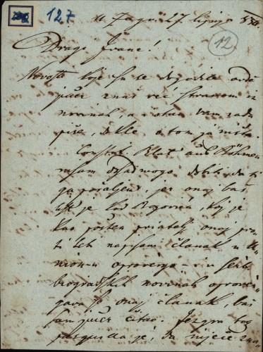 127 | Pismo Janka Cara Ivanu Kukuljeviću