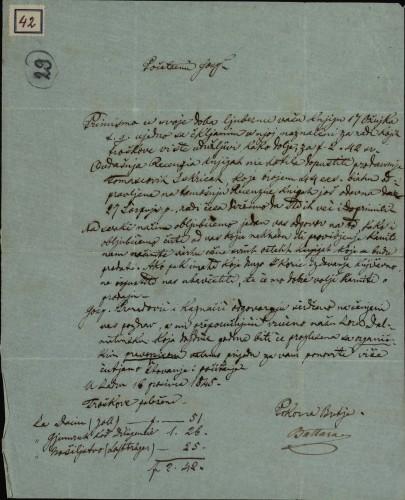 42 | Pismo od Battare Ivanu Kukuljeviću
