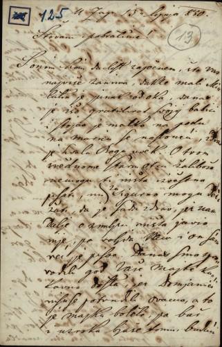 125 | Pismo Janka Cara Ivanu Kukuljeviću