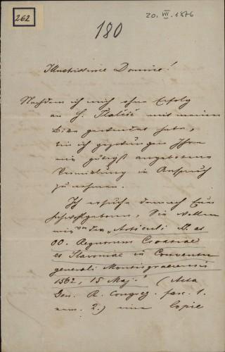 262 | Pismo dr. Vilmoša Fraknoi Ivanu Kukuljeviću