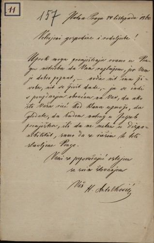 11 | Pismo od H. Antolkovića Ivanu Kukuljeviću