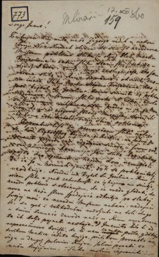 773 | Pismo Stjepana Mlinarića Ivanu Kukuljeviću