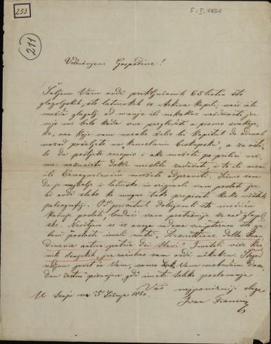 253 | Pismo Ivana Fiamina Ivanu Kukuljeviću