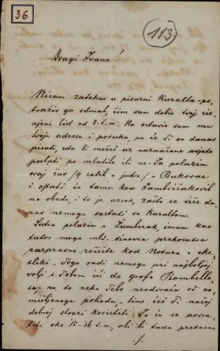 36 | Pismo Nikole Badovinca Ivanu Kukuljeviću