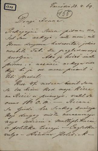 1356 | Pismo Eduarda Zdenčaja Ivanu Kukuljeviću