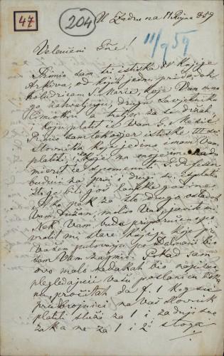 47 | Pismo Ivana Berčića Ivanu Kukuljeviću