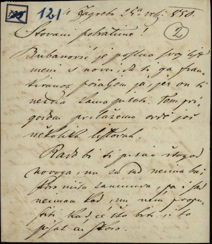 121 | Pismo Janka Cara Ivanu Kukuljeviću